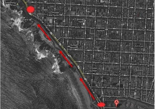 Mapa del recorrido de Las Jirafas en Iquique